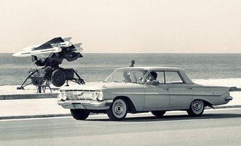 Missile on beach